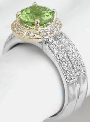 Two Tone Round Peridot and Diamond Halo Engagement Ring in 14k