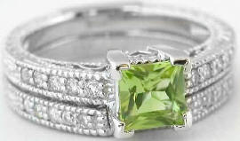 Vintage Peridot Diamond Engagement Ring with Matching Band