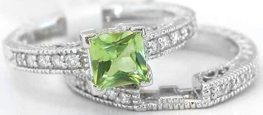 Princess Cut Peridot Engagement Ring With Matching Band In