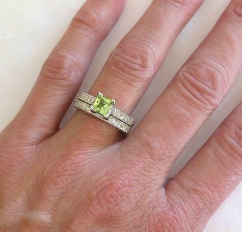 Princess Cut Peridot Engagement Ring with Matching Band in 14k