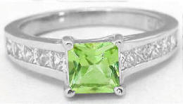 Peridot and White Sapphire Engagement Ring in 14k