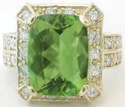 Bold Peridot Ring in 14k Gold
