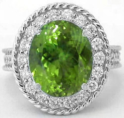 Burmese Peridot Engagement Ring