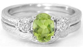 Vintage Peridot Engagement Rings with Engraving and Matching Band