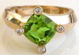 Cushion Cut Peridot Rings