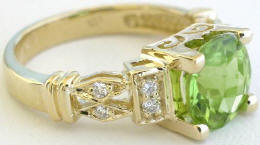 Checkerboard Faceted Peridot Rings in yellow gold