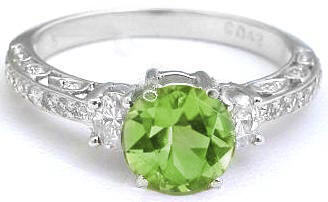 peridot wedding rings in 14k white gold - Peridot Wedding Rings