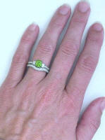 Antique Style Engagement Ring with Peridot and Diamonds