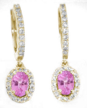 Oval Pink Sapphire and Diamond Halo Earrings in 14k yellow gold