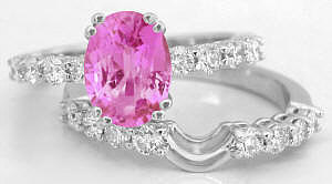 Oval Pink Sapphire and Diamond Engagement Ring with Matching Band