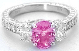 Oval Pink Sapphire and Oval Diamond Ring in 14k white gold