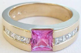 Princess Cut Pink Sapphire Diamond Tank Engagement Ring