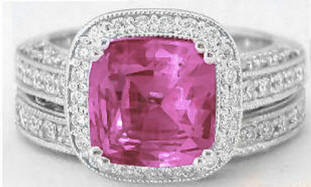 Rare 4.02 ctw Cushion Cut Pink Sapphire and Diamond Engagement Ring in 14k