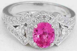 Oval Pink Sapphire Ring White Gold