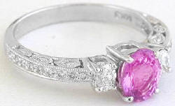Antique Style Pink Sapphire and Diamond Engagement Rings