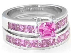 All Princess Cut Pink Sapphire Engagement Ring