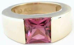 Princess Cut Pink Tourmaline Rings in 14k