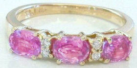 1.36 ctw Triple Oval Pink Sapphire and Diamond Ring