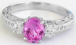 Antique Style Pink Sapphire Engagement Rings