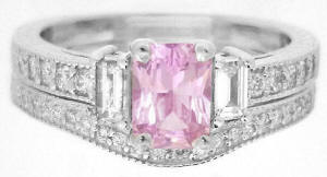Vintage Style Light Pink Sapphire Engagement Ring and Wedding Band