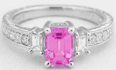 1.50 ctw Emerald Cut Pink Sapphire and Diamond Engagement Ring in 14k white  gold