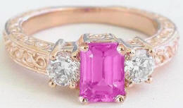 Emerald Cut Pink Sapphire Three Stone Engagement Ring