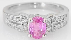 1.19 ctw Pink Sapphire and Diamond Ring in 14k white gold