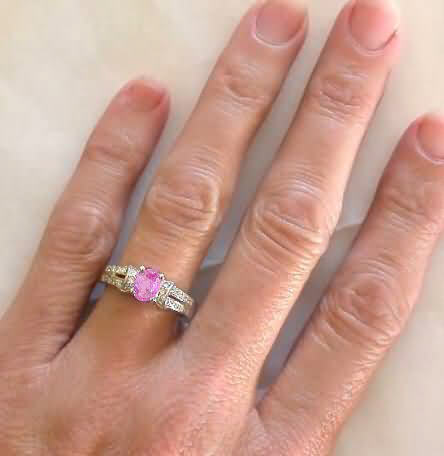 Pink Sapphire Ring Oval Sapphire and Diamond Engagement Ring
