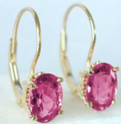 2 5 Ctw Oval Pink Tourmaline Dangle Earrings In 14k Yellow Gold