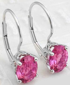 Oval Pink Tourmaline Gemstone Earrings With Dangle Leverback In 14k White Gold