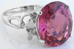 Large Oval Pink Tourmaline Rings in 14k White Gold