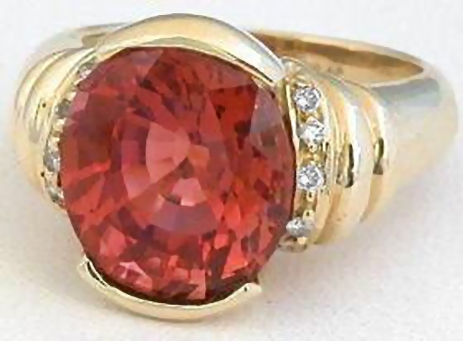 Salmon Tourmaline Rings in 14k