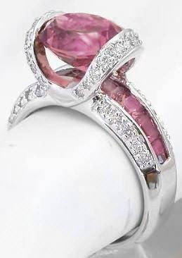 Custom Pink Tourmaline Diamond Rings In 14k White Gold