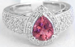 Pear Shape Pink Tourmaline Rings in 14k