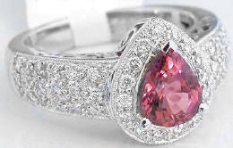 Pear Shape Pink Tourmaline and Diamond Halo Engagement Rings in 14k White Gold