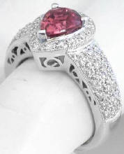Pear Shape Pink Tourmaline Pave Diamond Halo Ring in 14k White Gold