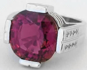 11 carat Pink Tourmaline Diamond Ring in 14k White Gold