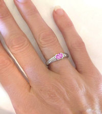 East West Pink Sapphire Solitaire Rings in 14k white gold