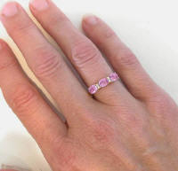 Triple Oval Pink Sapphire and Diamond Ring in 14k Gold