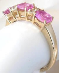 Triple Oval Pink Sapphire and Diamond Rings
