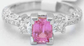 1.36 ctw Cushion Cut Pink Sapphire and Diamond Engagement Ring in 14k white gold