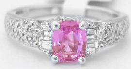 1.40 ctw Cushion Cut Pink Sapphire and Diamond Ring in 18k white gold