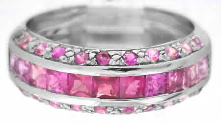Pink Sapphire Band Ring with Shades of Pink Sapphires