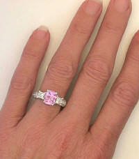 Engagement Ring with Pink Sapphire and Princess Cut and Round Diamonds