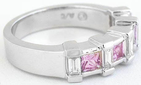 Pink Sapphire Anniversary Band Rings Princess Cut And Baguette Diamond Wedding Bands