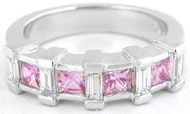Baguette Pink Sapphire Band Ring