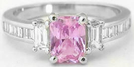 Radiant Cut Pink Sapphire and Baguette Diamond Ring in 14k white gold