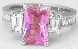 Radiant Cut Pink Sapphire and Baguette Diamond Engagement Ring