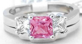 Princess Cut Pink and White Sapphire Ring with Matching Band