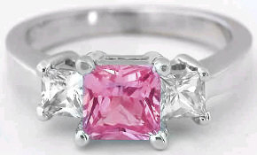 Classic 1.20 ctw Princess Cut Pink Sapphire and White Sapphire Ring in 14k white gold